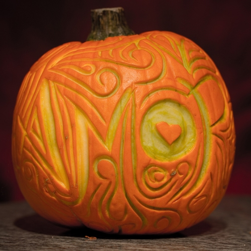 Pumpkin projects surface carving birds and blooms