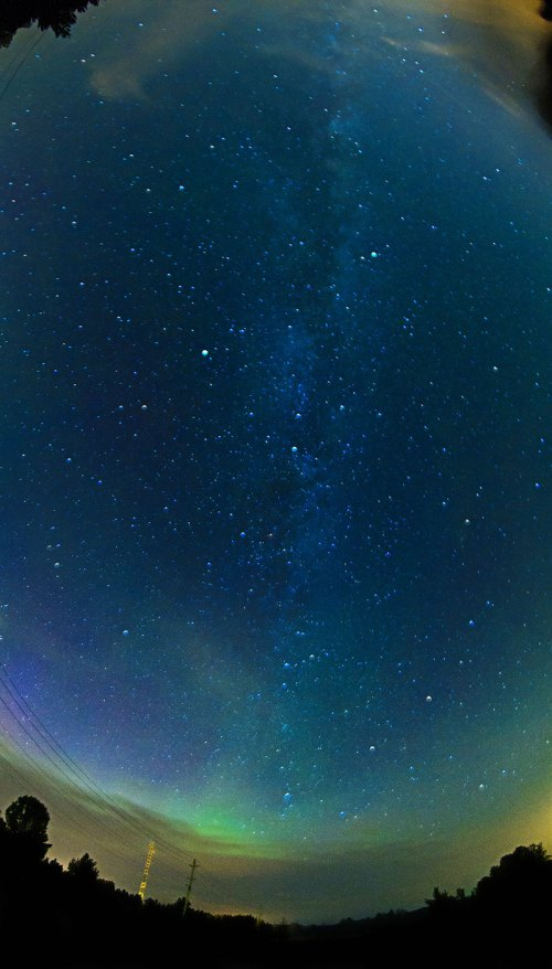 Milky way, northern lights, panorama