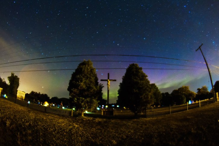 cemetery, northern lights, midland, Jesus