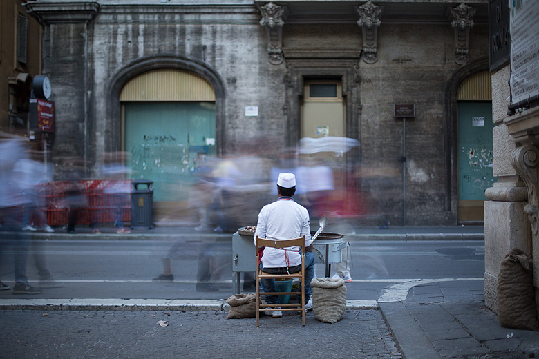 The Big Stopper and someone selling roasted figs on the street.