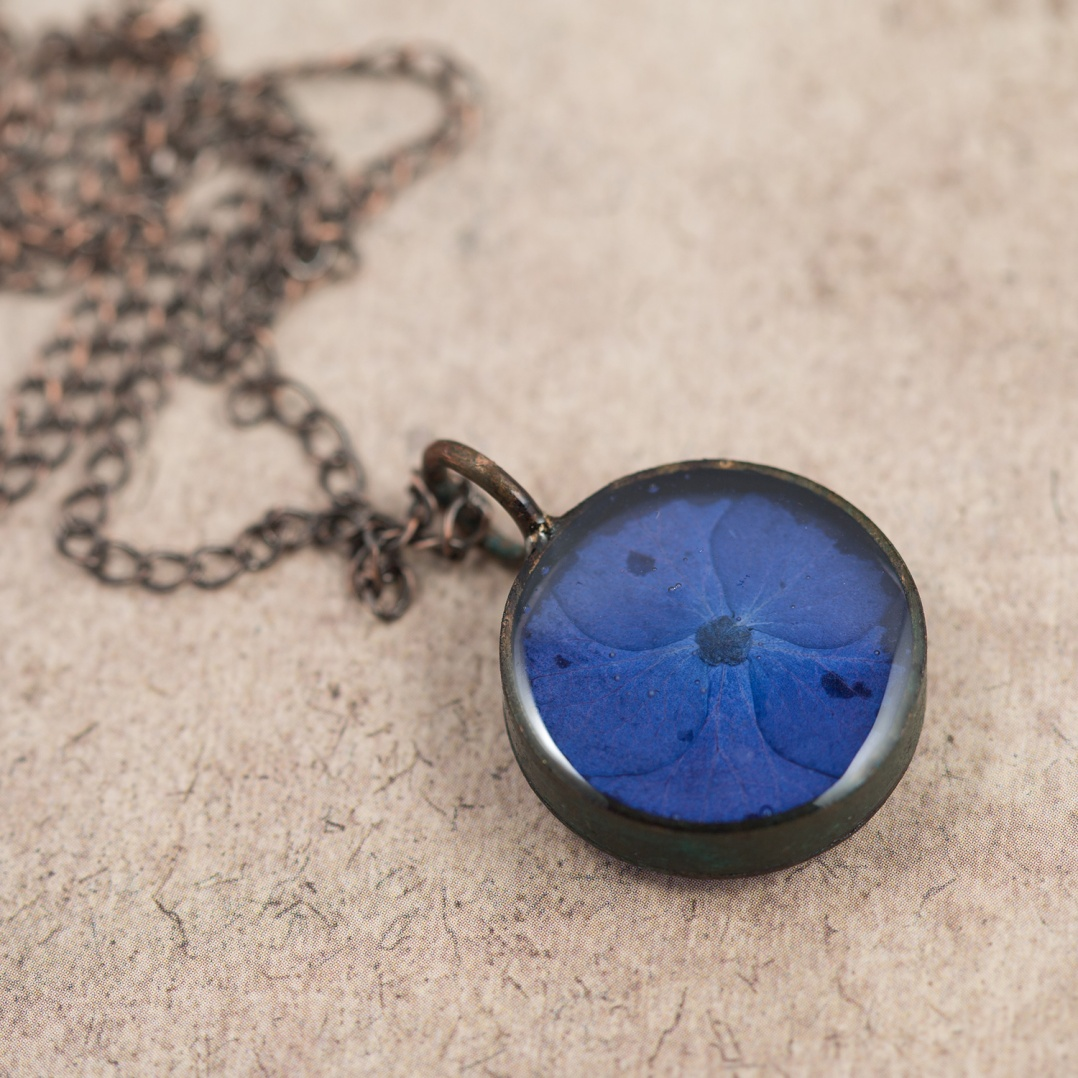 $65 - Real Hydrangea Petal, preserved in a handmade copper bezel.