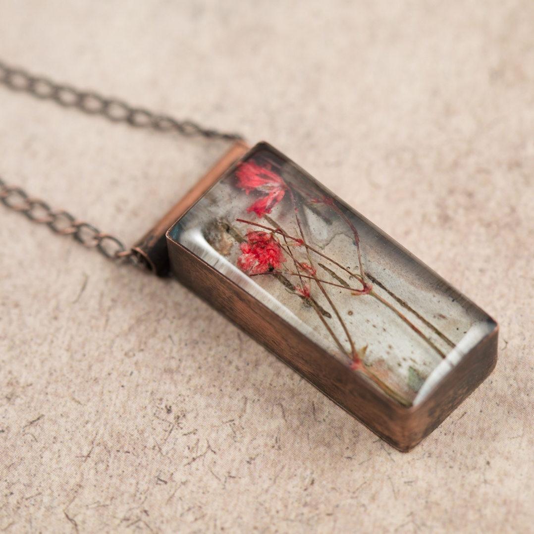 $55 - Real Baby's Breath and birch bark, preserved in a handmade copper bezel.