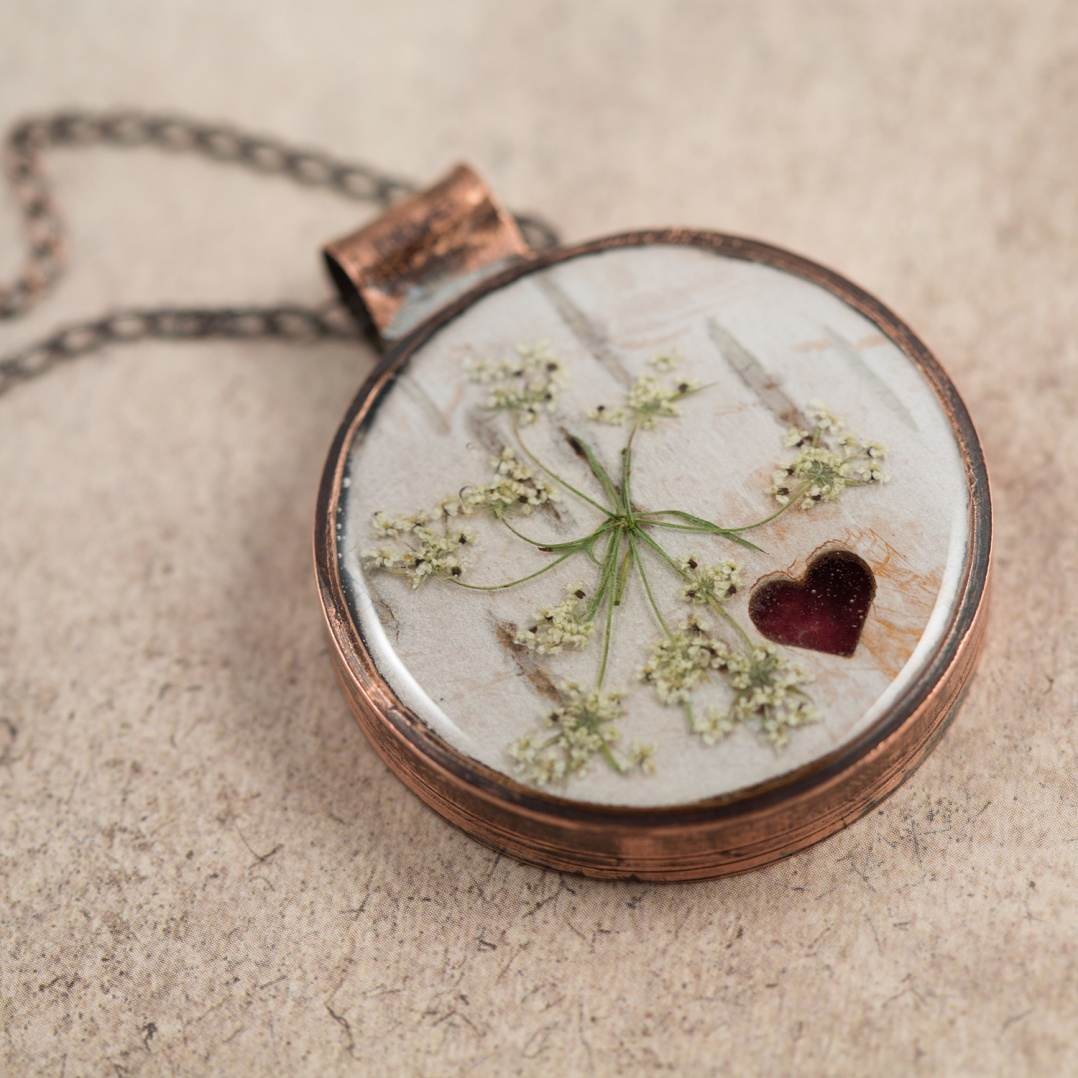 $85 - Real Queen Anne's lace, birch bark and Maple leaf, preserved in a handmade copper bezel.
