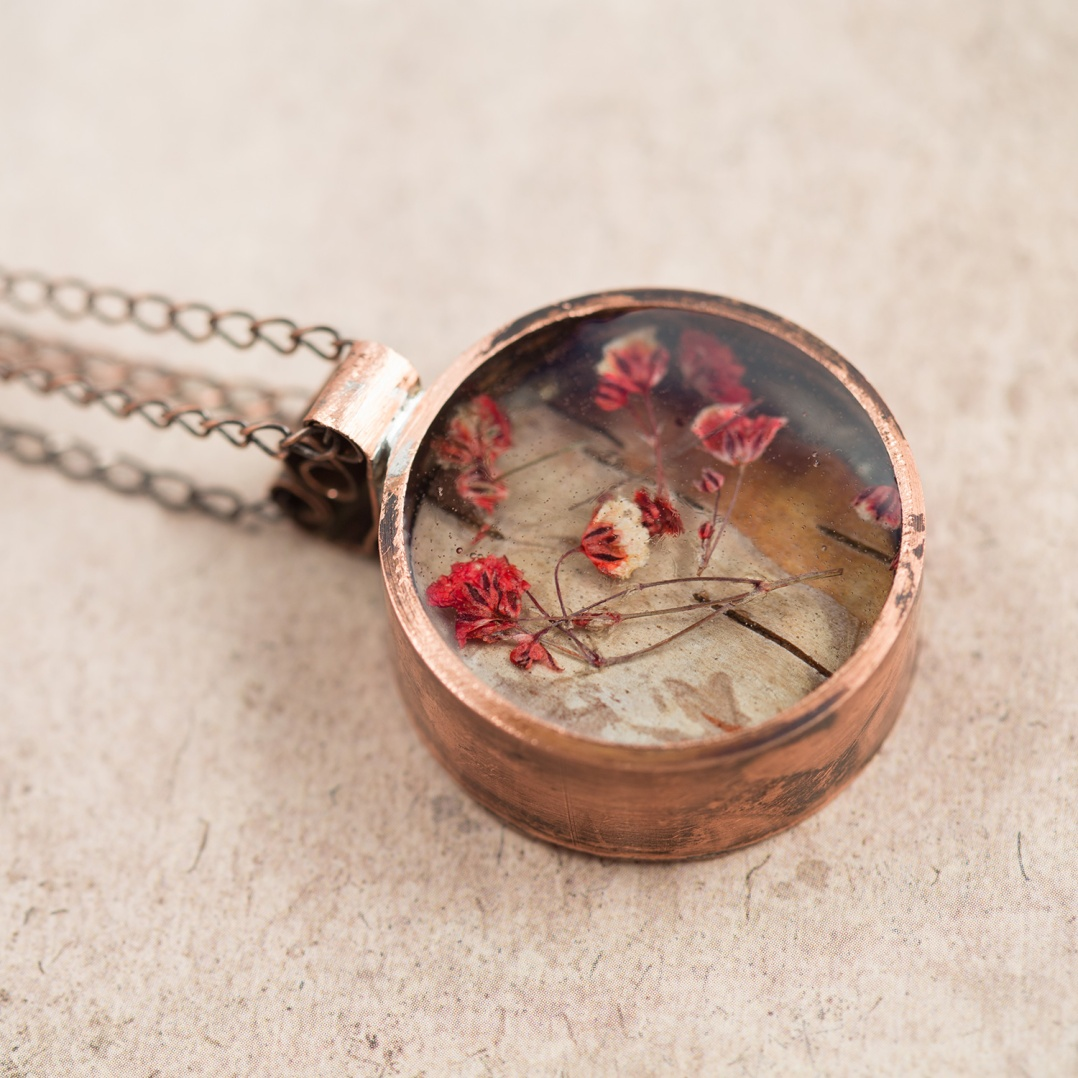 $85 - Real Baby's Breath and birch bark, preserved in a handmade copper bezel.
