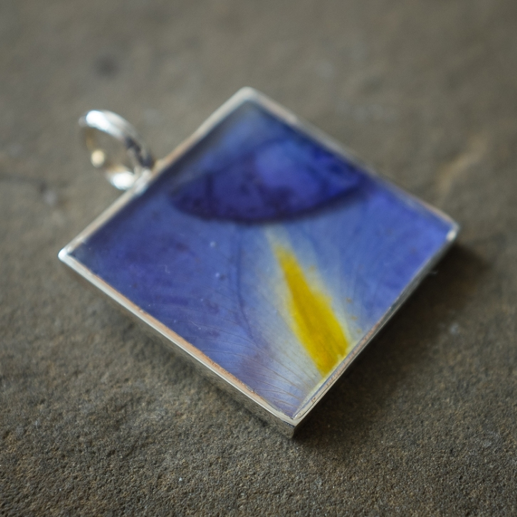 "1.25"" x 1.25"" square pendant with Blue Iris"