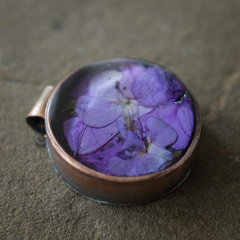 "1.25"" diameter handmade copper bezel with Purple Cresses"