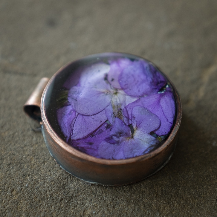 "1.25"" diameter handmade copper bezel with Purple Cresses"