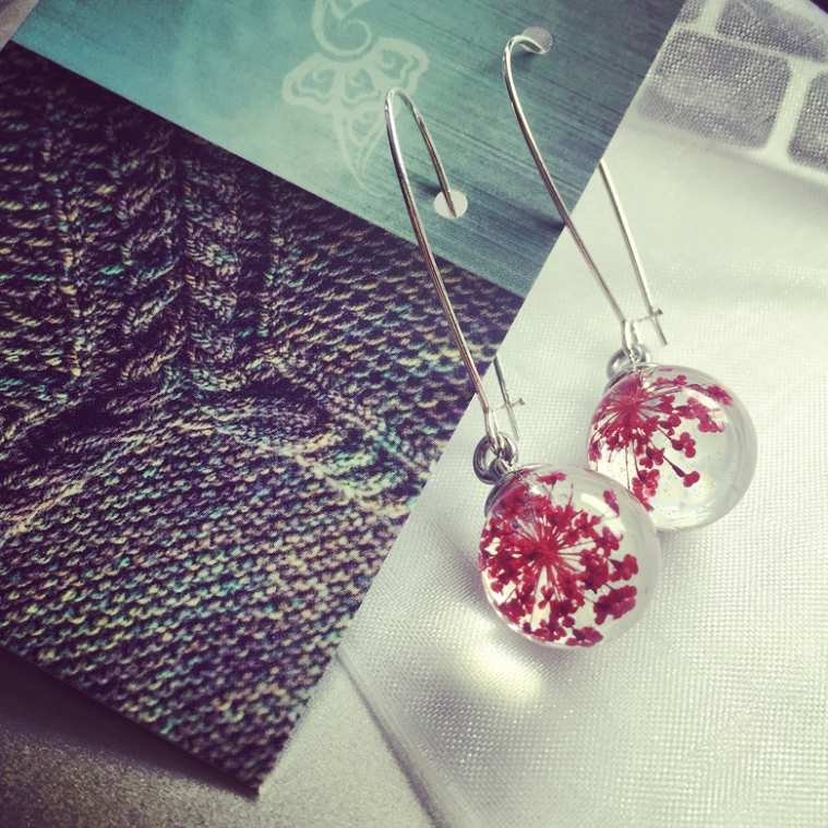 Red Queen Anne's Lace earrings, on their way to a customer!