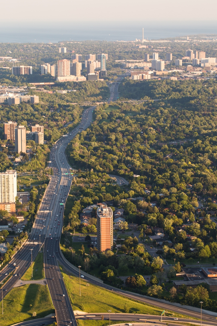 The Don Valley Parkway, and a great view of how green Toronto is